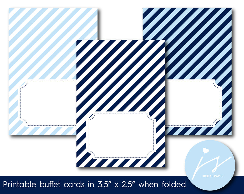 Light blue and navy blue buffet cards with stripes, TC-215