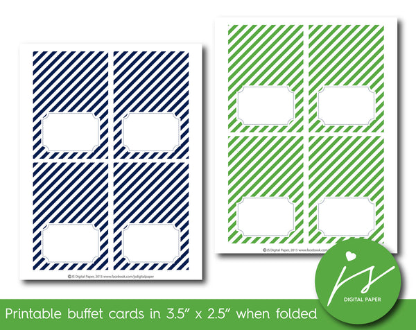 Grass green and navy blue buffet cards with stripes, TC-216
