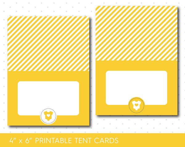 Yellow baby shower food tent cards, TC-22
