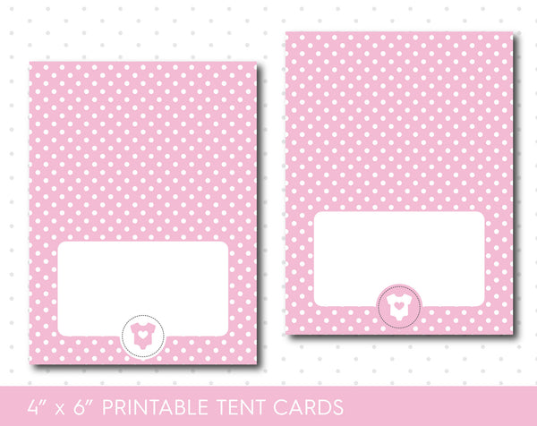 Pink baby shower food tent cards with polka dots, TC-42