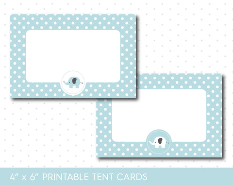 Baby blue elephant food tent cards with polka dots, TC-63