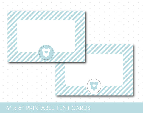 Baby blue baby shower food tent cards with stripes, TC-65