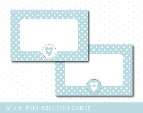 Baby blue baby shower food tent cards with polka dots, TC-66