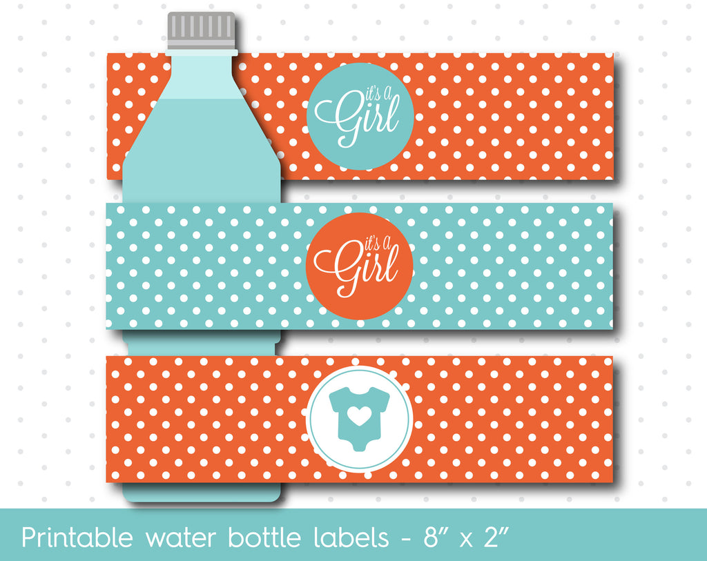 orange and turquoise baby shower water bottle labels wa01