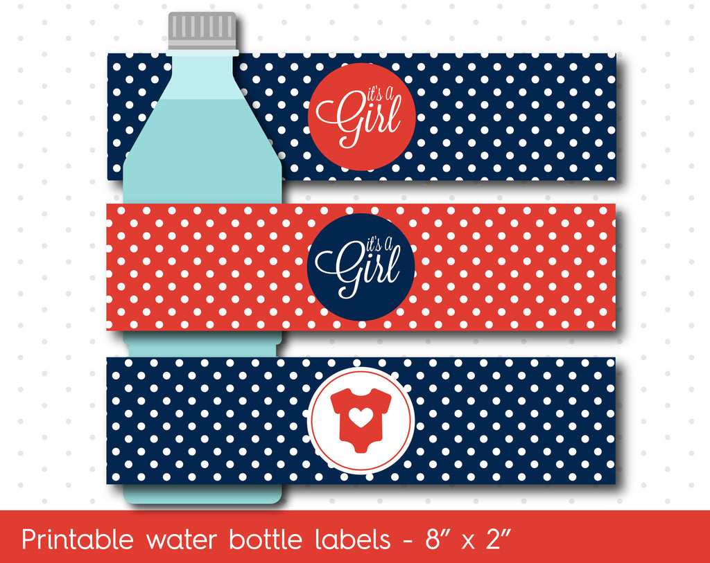 Navy Blue and Red baby shower water bottle labels, WA-03