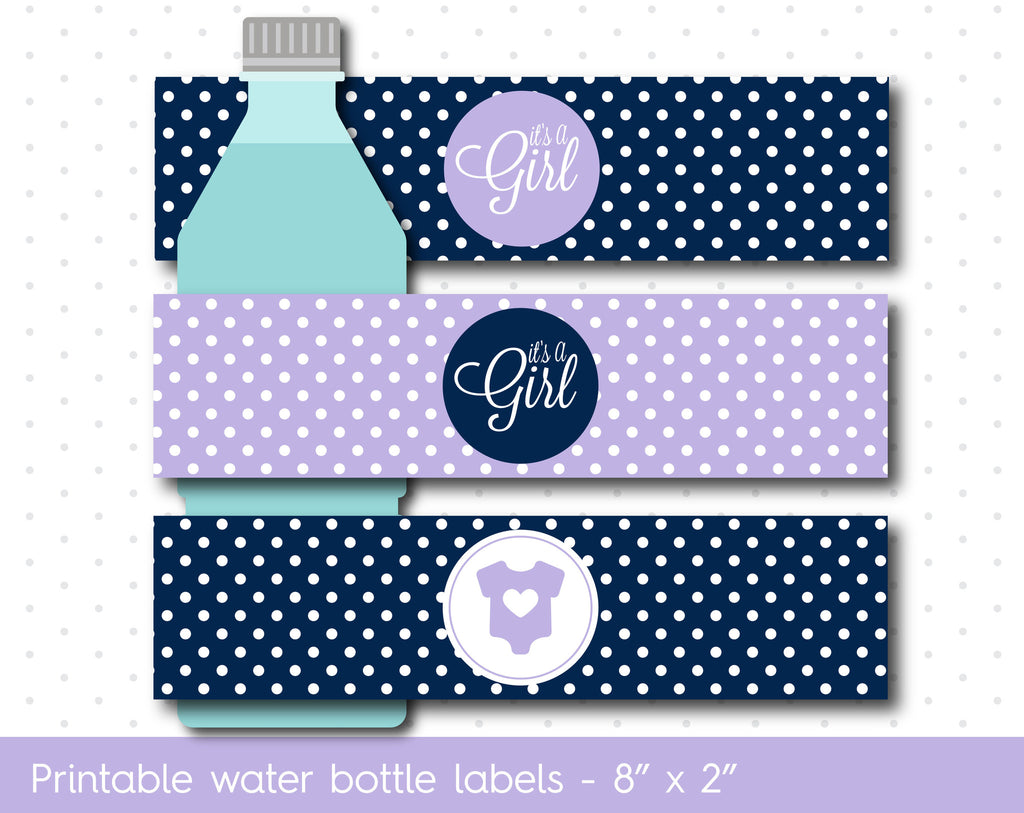 Purple and navy blue baby shower water bottle labels, WA-07