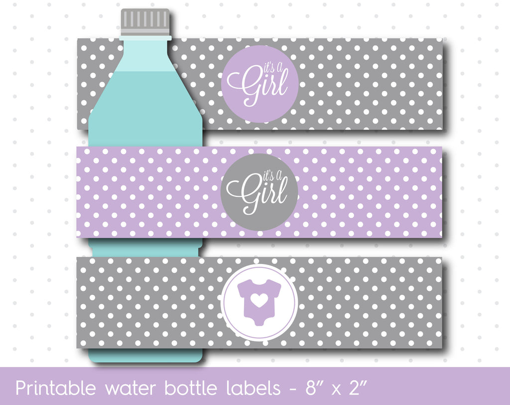 Purple and grey baby shower water bottle labels, WA-10