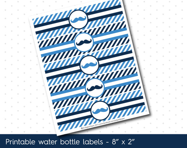 Ocean blue and navy blue mustache water bottle labels with stripes, WA-105