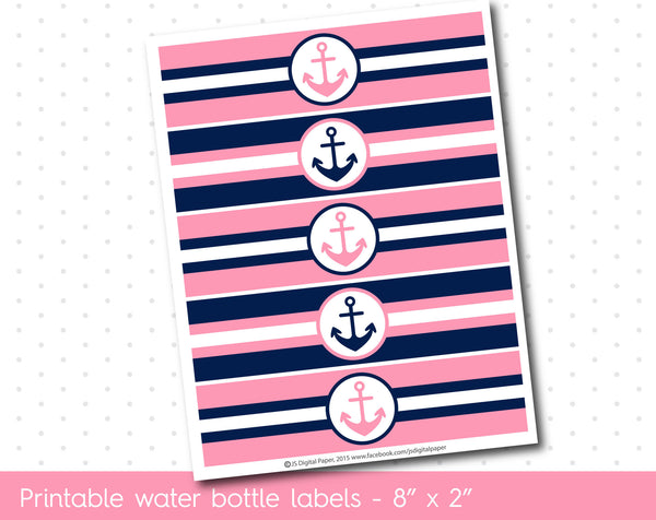Pink and navy blue nautical water bottle labels, WA-118