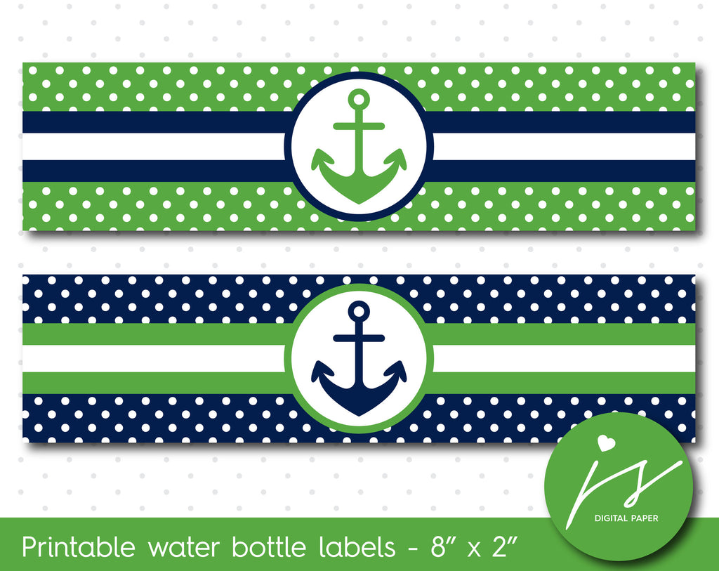 Green and navy blue nautical water bottle labels with polka dots, WA-122