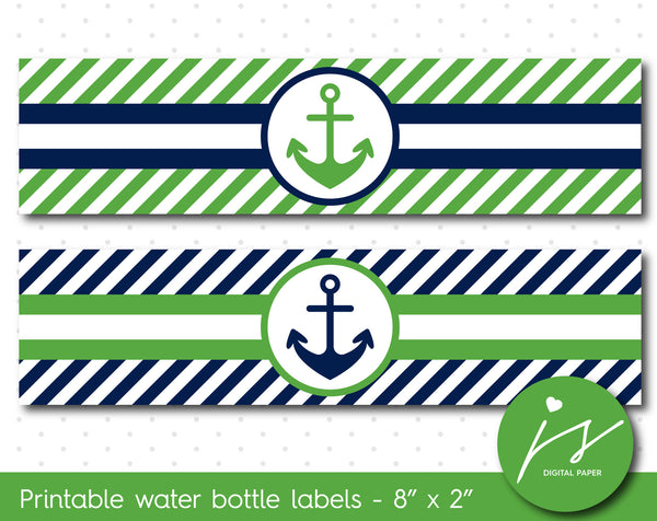 Green and navy blue nautical water bottle labels with stripes, WA-123