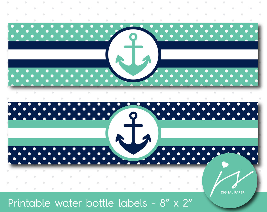 Lagoon green and navy blue nautical water bottle labels with polka dots, WA-126