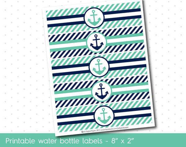 Lagoon green and navy blue nautical water bottle labels with stripes, WA-127