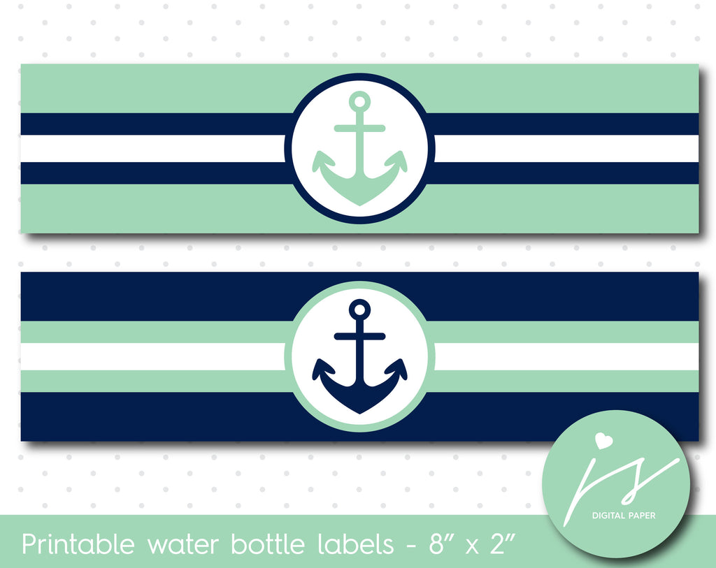 Mint green and navy blue nautical water bottle labels, WA-128