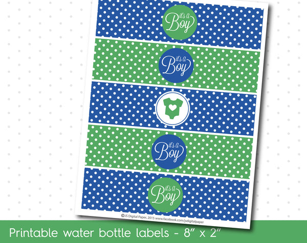 Green and blue baby shower water bottle labels, WA-13