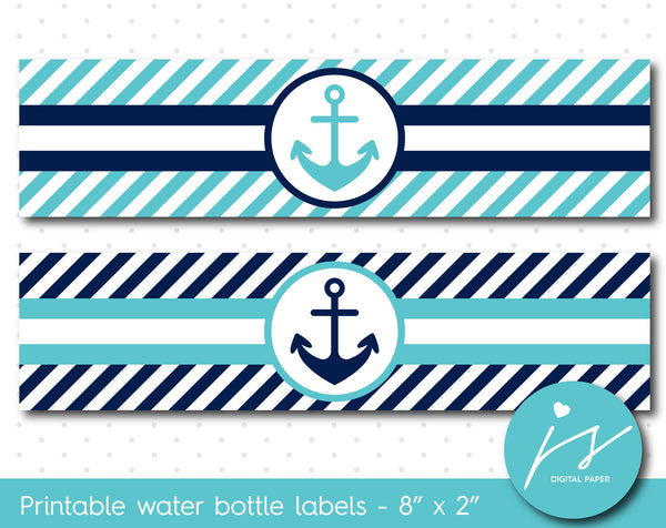 Turquoise and navy blue nautical water bottle labels with stripes, WA-133