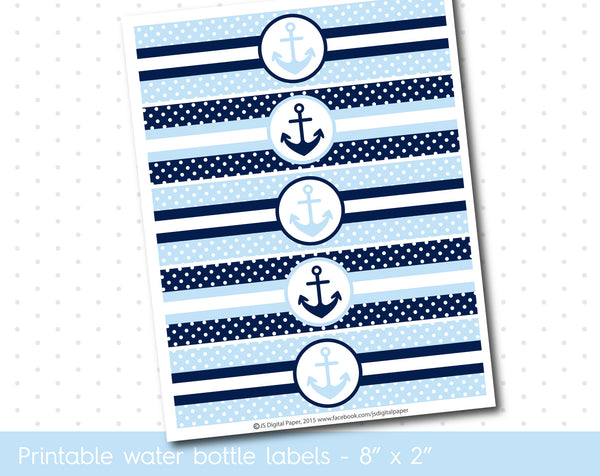 Light blue and navy blue nautical water bottle labels with polka dots, WA-138