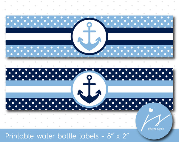 Blue and navy blue nautical water bottle labels with polka dots, WA-141