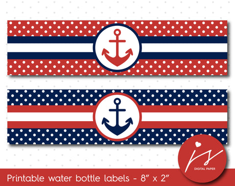 Cherry red and navy blue nautical water bottle labels with polka dots, WA-153