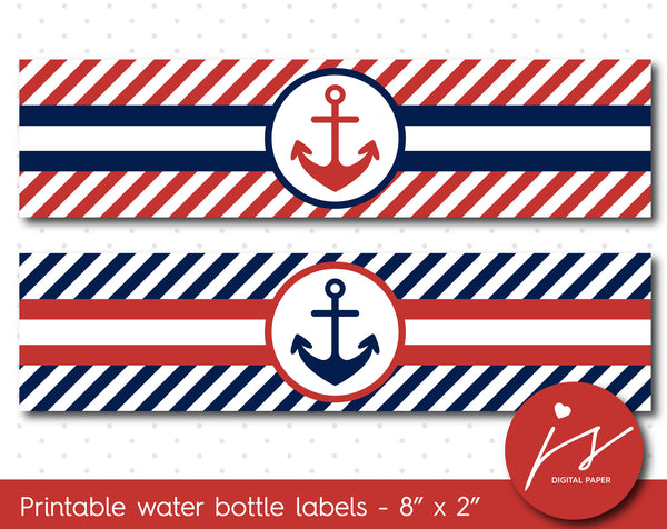 Cherry red and navy blue nautical water bottle labels with stripes, WA-154