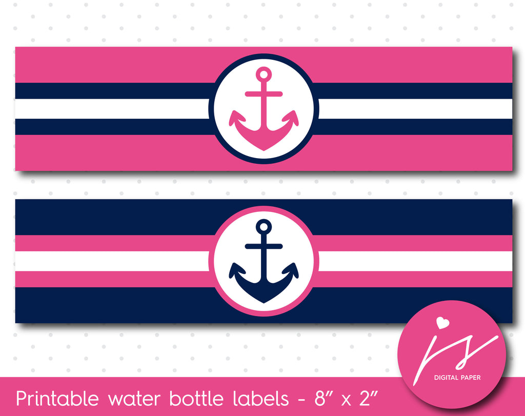 Hot pink and navy blue nautical water bottle labels, WA-164