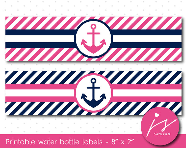 Hot pink and navy blue nautical water bottle labels with stripes, WA-166