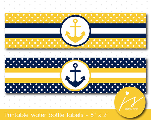 Yellow and navy blue nautical water bottle labels with polka dots, WA-174