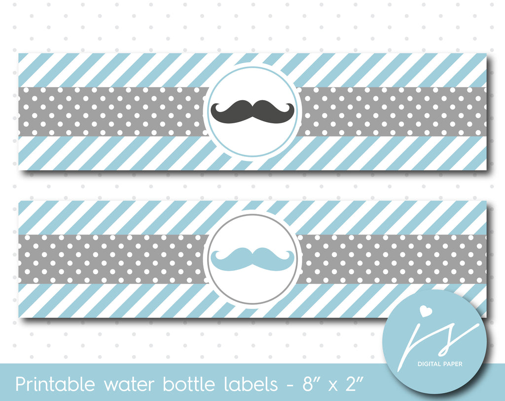Fog blue and grey mustache water bottle labels, WA-179