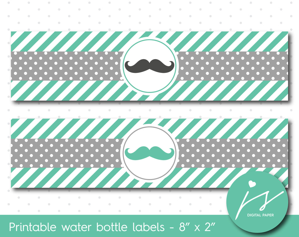 Lagoon green and grey mustache water bottle labels, WA-188