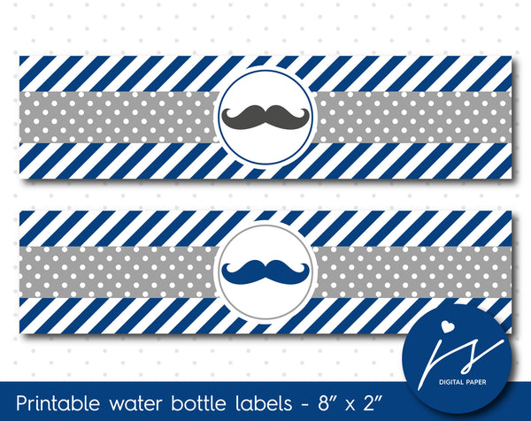Navy blue and grey mustache water bottle labels, WA-190