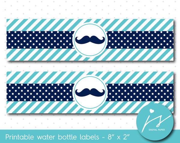 Turquoise and navy blue mustache water bottle labels, WA-196