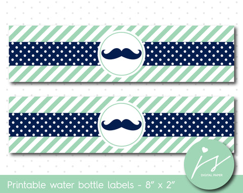 Mint green and navy blue mustache water bottle labels, WA-198