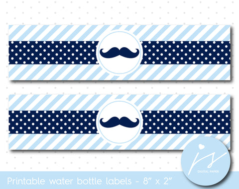 Baby blue and navy blue mustache water bottle labels, WA-201