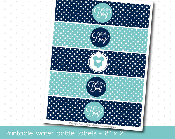 Navy blue and Turquoise baby shower water bottle labels, WA-22