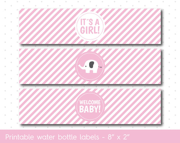 Pink elephant baby shower water bottle labels with stripes, WA-34