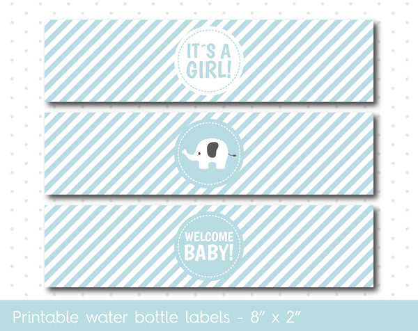 Baby blue elephant baby shower water bottle labels with stripes, WA-42