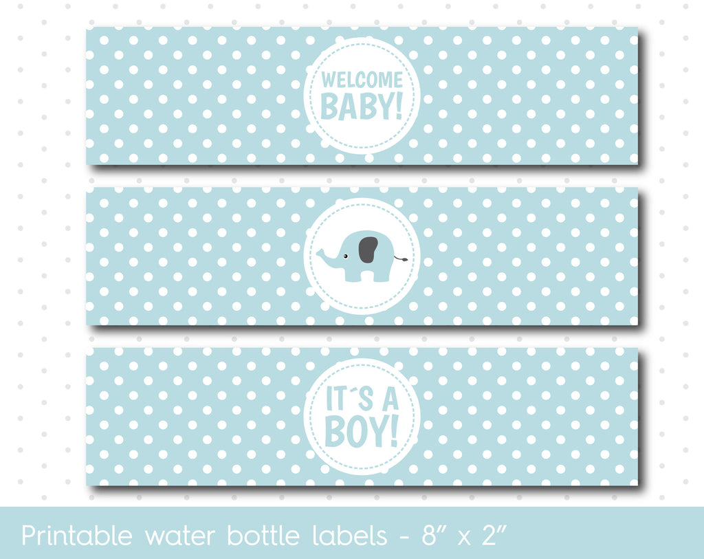 Baby blue elephant baby shower water bottle labels with polka dots, WA-43