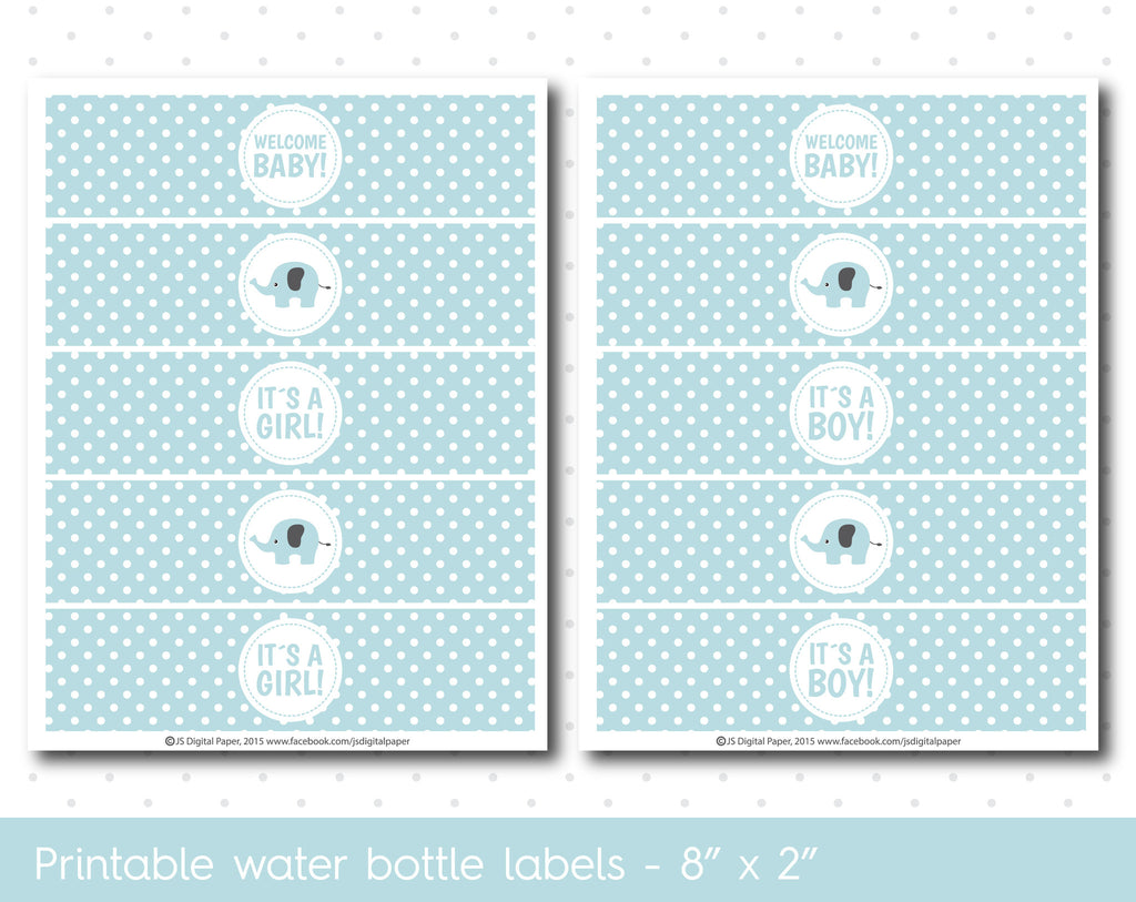 baby blue elephant baby shower water bottle labels with polka dots wa43