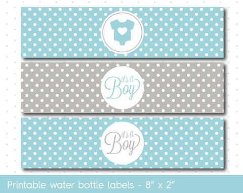 baby blue and grey baby shower water bottle wrappers water bottle labels wa