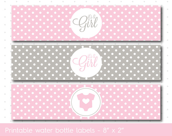 Baby pink and grey baby shower water bottle wrappers, Water bottle labels, WA-53