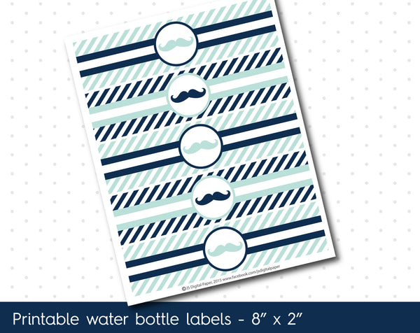 Mint blue and navy blue mustache water bottle labels with stripes, WA-63