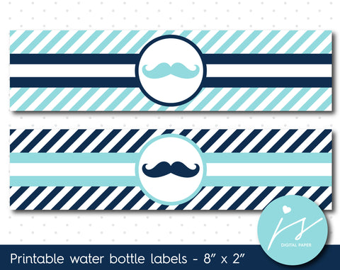 Ice blue and navy blue mustache water bottle labels with stripes, WA-66