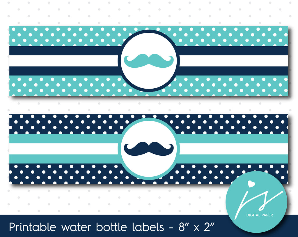 Turquoise and navy blue mustache water bottle labels with polka dots, WA-68