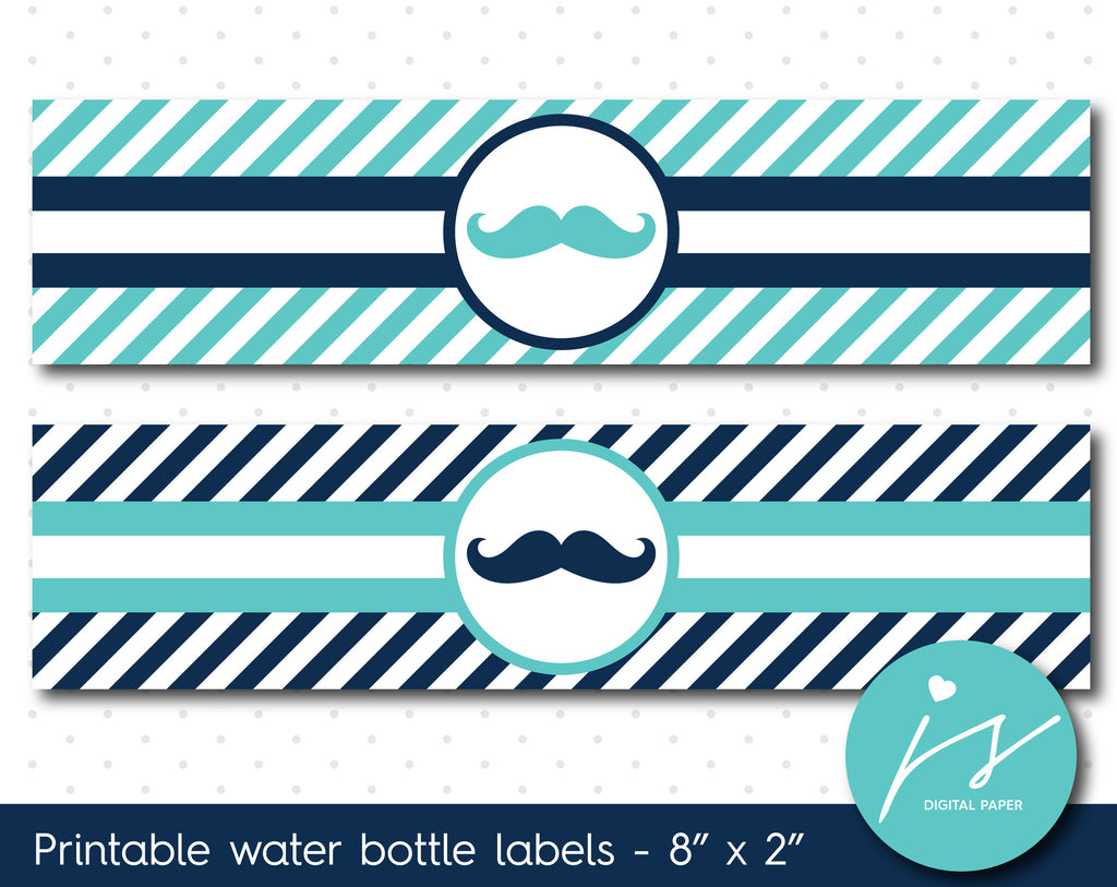 Turquoise and navy blue mustache water bottle labels with stripes, WA-69