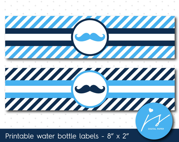 Bright blue and navy blue mustache water bottle labels with stripes, WA-72