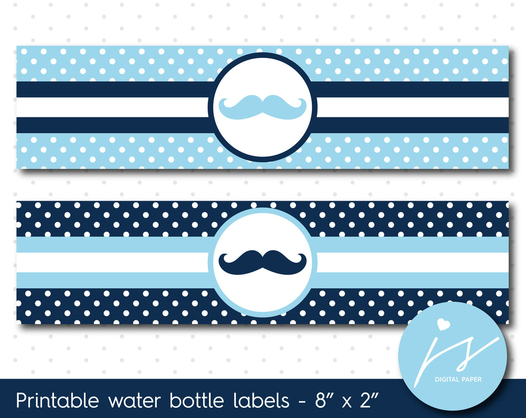 Baby blue and navy blue mustache water bottle labels with polka dots, WA-86