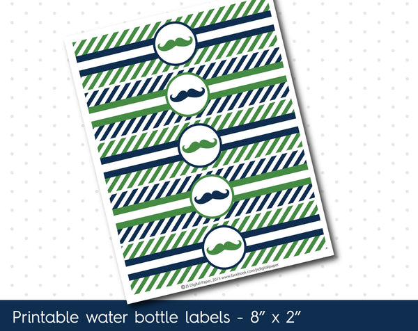 Emerald green and navy blue mustache water bottle labels with stripes, WA-99