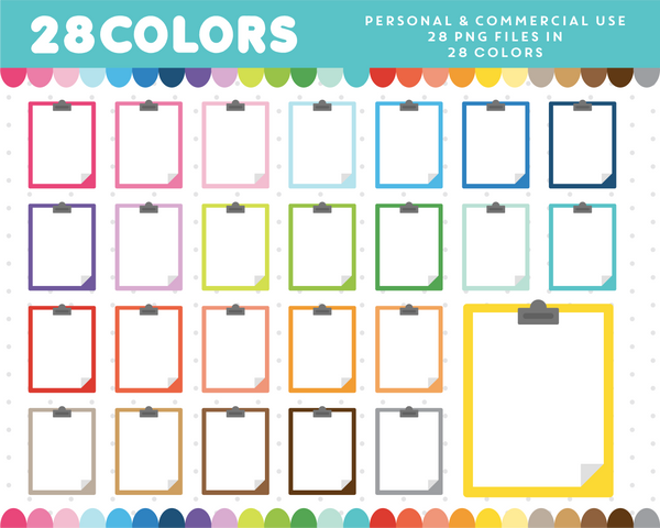 Clip board clipart in 28 colors, CL-823