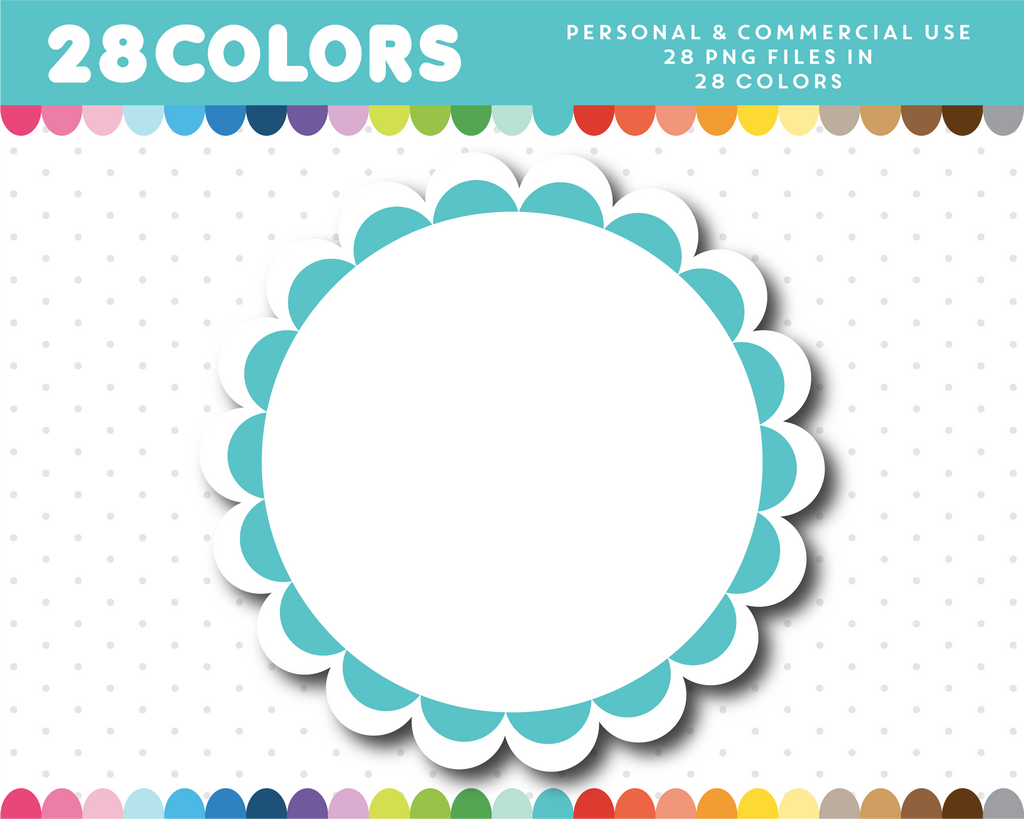 Colorful scalloped round frame clipart in 28 colors, CL-831