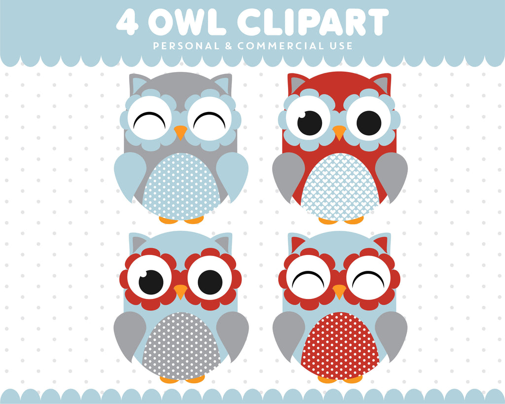 Baby Blue Red Owl Clipart Graphics Digital Scrapbooking Commercial Use, SUPO-10